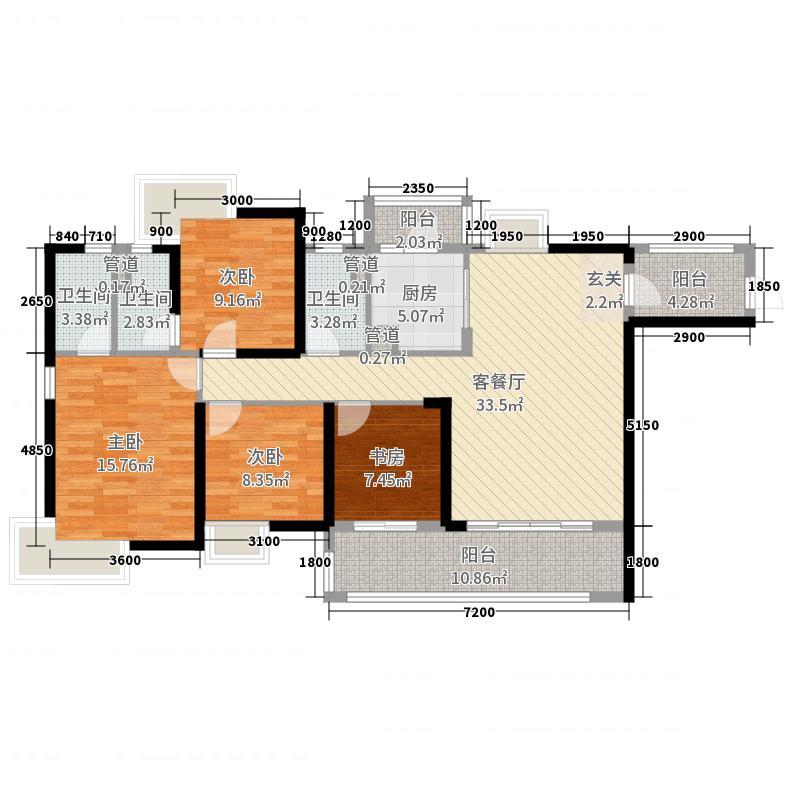 上林一品143.00㎡14栋户型4室4厅2卫1厨