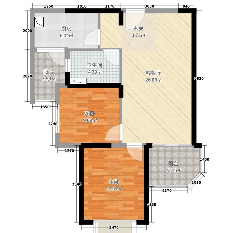 恒大绿洲84.00㎡6#楼二单元中间套户型2室2厅1卫1厨