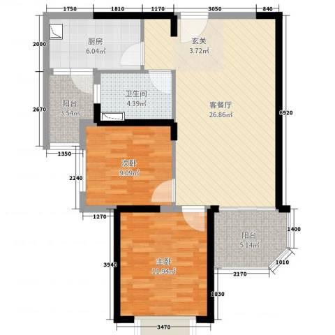 恒大绿洲2室2厅1卫1厨84.00㎡户型图