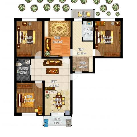 l龙盛家园4室2厅2卫1厨124.00㎡户型图