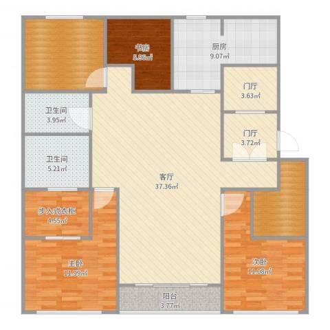 万科翡翠滨江3室1厅2卫1厨142.00㎡户型图