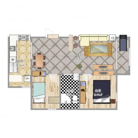 双河南里1室1厅1卫1厨70.00㎡户型图