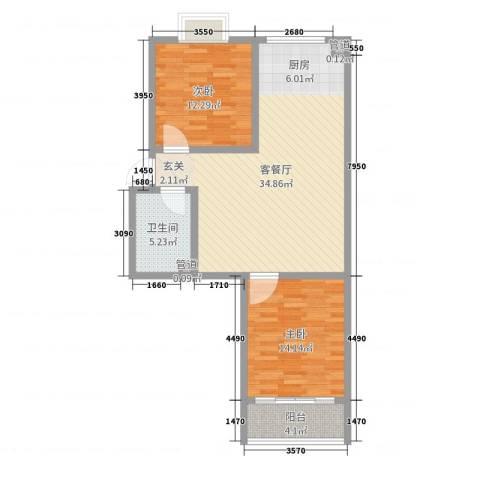 河畔景苑2室2厅1卫0厨89.00㎡户型图