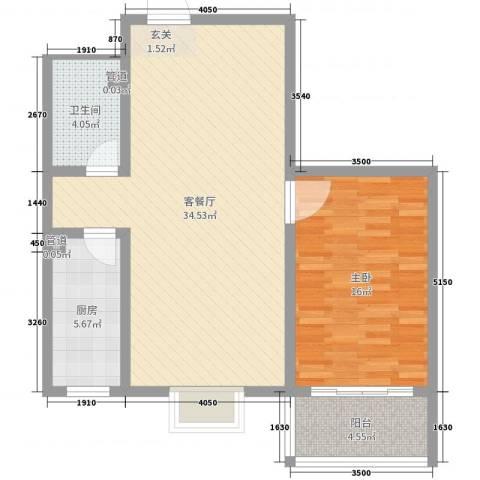 河畔景苑1室2厅1卫1厨80.00㎡户型图