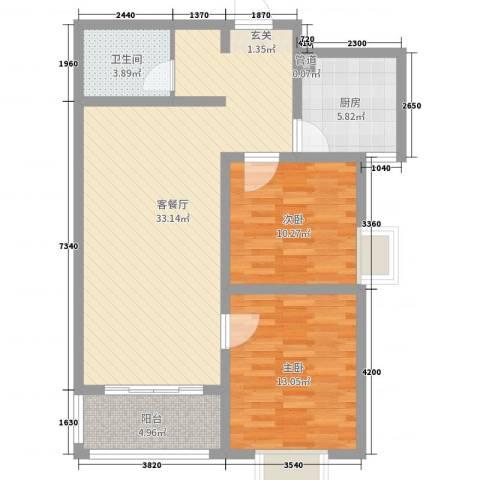 河畔景苑2室2厅1卫1厨89.00㎡户型图