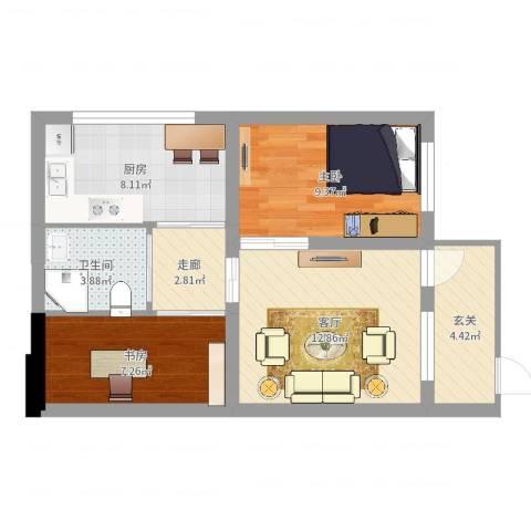 海子角西里2室1厅1卫1厨61.00㎡户型图