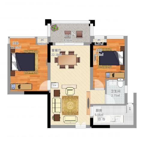宝安椰林湾2室2厅1卫1厨81.00㎡户型图