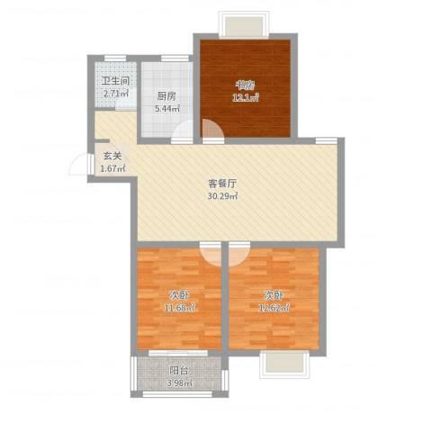 华兴・水岸华庭3室2厅1卫1厨78.82㎡户型图