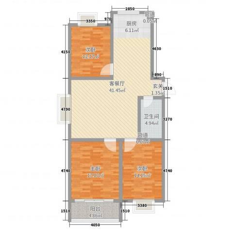 河畔景苑3室2厅1卫0厨119.00㎡户型图