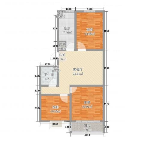 河畔景苑3室2厅1卫1厨105.00㎡户型图