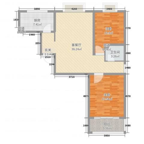 河畔景苑2室2厅1卫1厨103.00㎡户型图