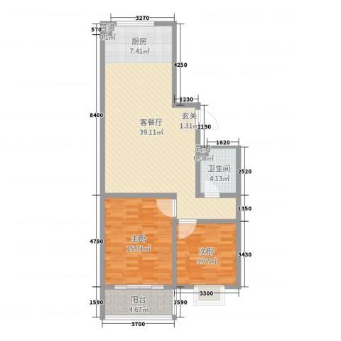 河畔景苑2室2厅1卫0厨93.00㎡户型图