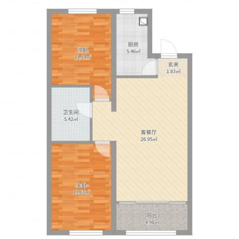 华润•凯旋门2室2厅1卫1厨68.29㎡户型图