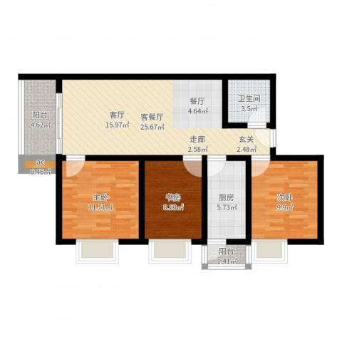 名流水晶宫3室2厅1卫1厨89.00㎡户型图