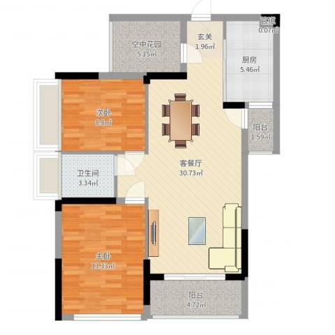 招商观园住宅2室2厅1卫1厨92.00㎡户型图