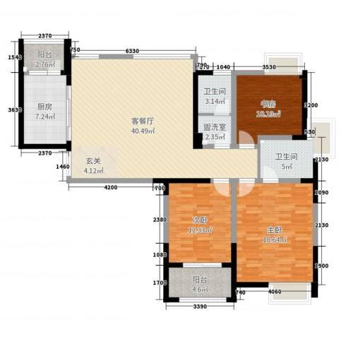 典雅花园3室2厅2卫1厨134.00㎡户型图