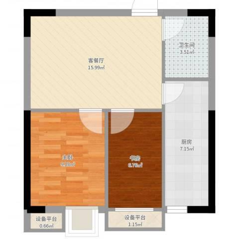 亚美沙发里2室2厅1卫1厨56.00㎡户型图