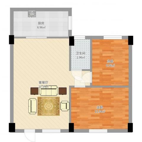 海悦新都会2室2厅1卫1厨73.00㎡户型图