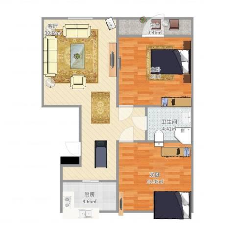 锦绣花园2室1厅1卫1厨98.00㎡户型图