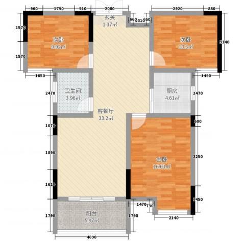 暨阳上河园二期3室2厅1卫1厨105.00㎡户型图