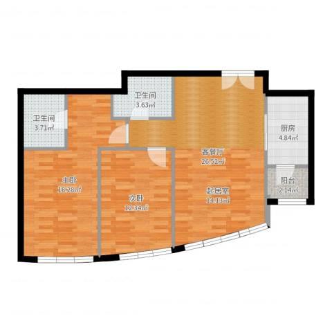 新华联运河湾2室2厅2卫1厨89.00㎡户型图