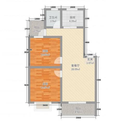 钧一嘉园2室2厅1卫1厨82.00㎡户型图