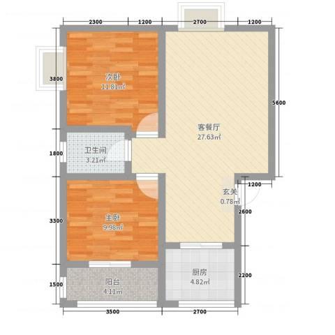 钧一嘉园2室2厅1卫1厨78.00㎡户型图