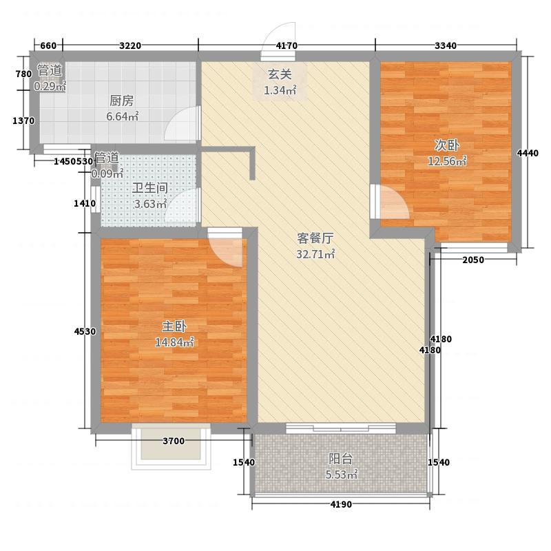 在水一方95.41㎡8/9号楼D户型2室2厅1卫1厨