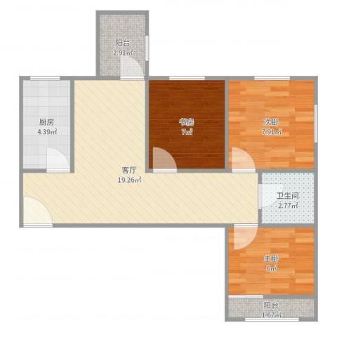 太平桥东里3室1厅1卫1厨65.00㎡户型图