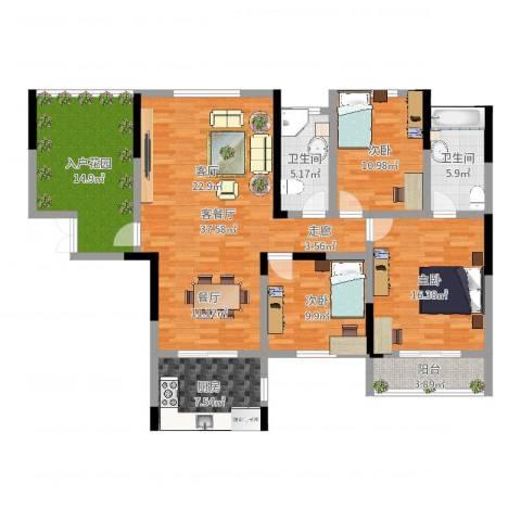 长沙麓江春2栋E户型3室2厅2卫1厨140.00㎡户型图