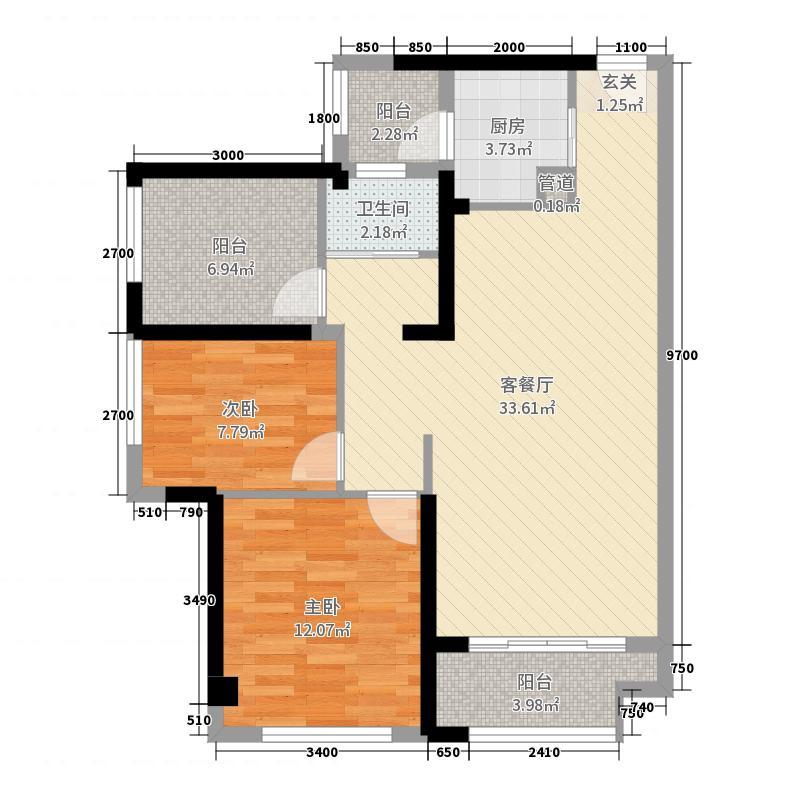 碧桂园・南站新城88.00㎡A户型2室2厅1卫1厨