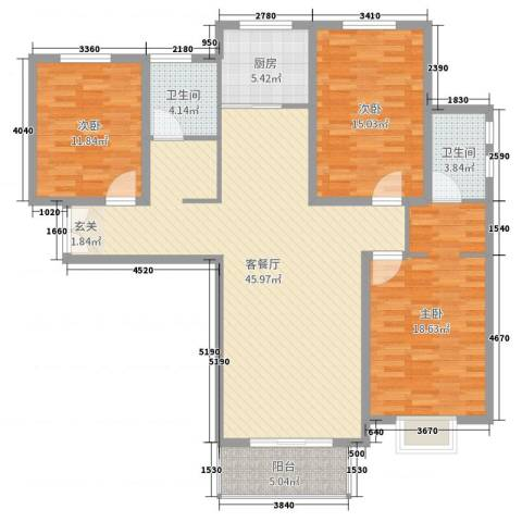 水木清华三期3室2厅2卫1厨137.00㎡户型图