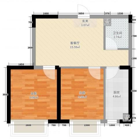 融城7英里2室2厅1卫1厨66.00㎡户型图