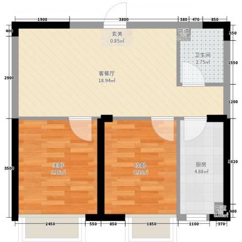 融城7英里2室2厅1卫1厨69.00㎡户型图