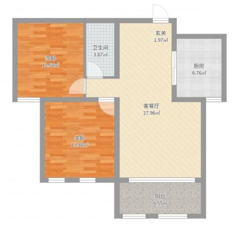 滨江国际2室2厅1卫1厨89.00㎡户型图