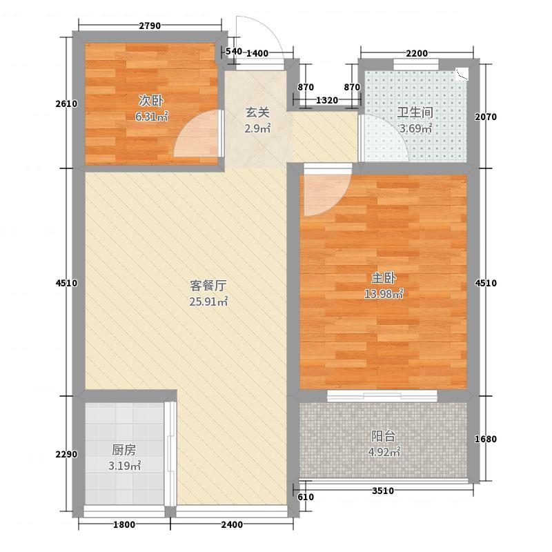 华荣・东方明珠72.00㎡户型2室2厅1卫1厨