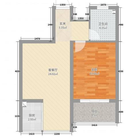 华荣・东方明珠1室2厅1卫1厨62.00㎡户型图