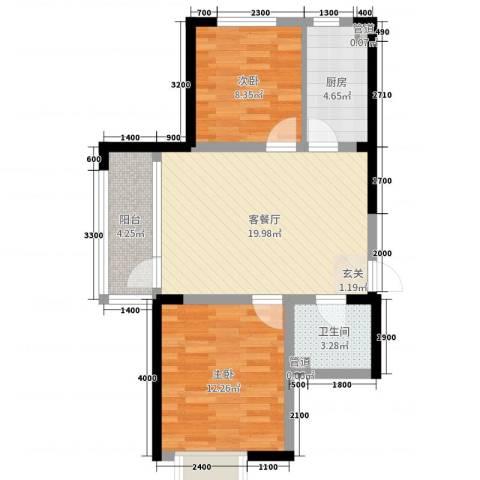 融城7英里2室2厅1卫1厨78.00㎡户型图