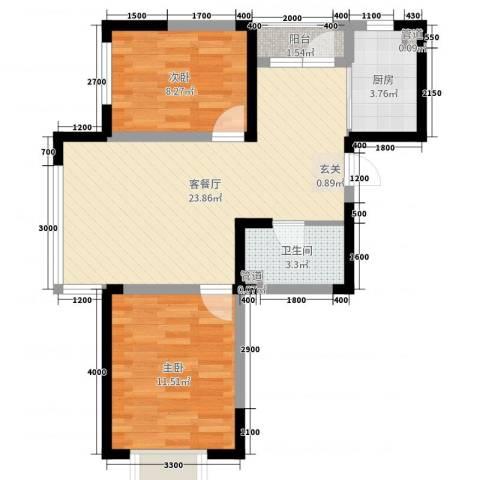融城7英里2室2厅1卫1厨80.00㎡户型图