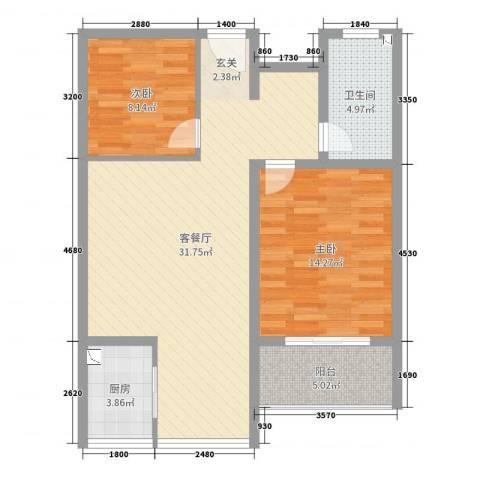 华荣・东方明珠2室2厅1卫1厨85.00㎡户型图