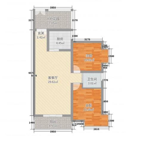 �Z都国际2室2厅1卫1厨90.00㎡户型图