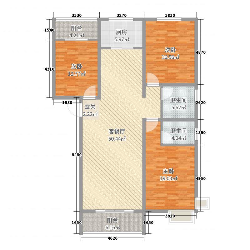 盛世泓府156.32㎡E户型3室3厅2卫1厨