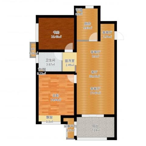 华润绿地・凯旋门2室1厅1卫1厨93.00㎡户型图