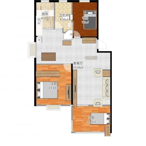 龙都花园3室2厅1卫1厨90.00㎡户型图
