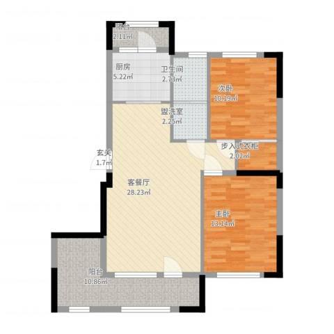 依云溪谷二期2室2厅1卫1厨96.00㎡户型图