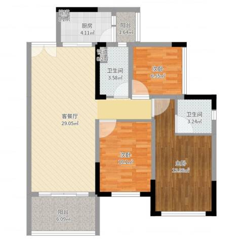 绿茵温莎堡香堤3室2厅4卫1厨104.00㎡户型图