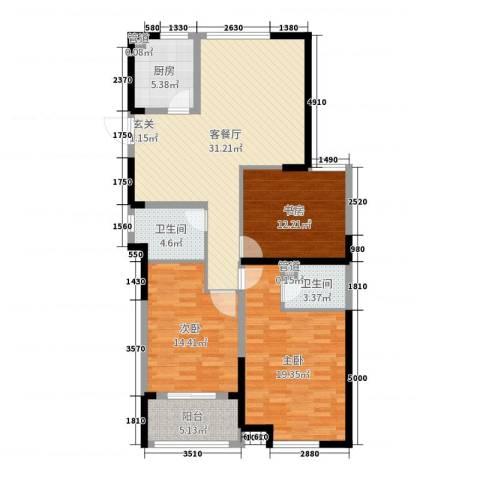 香榭里3室2厅2卫1厨133.00㎡户型图