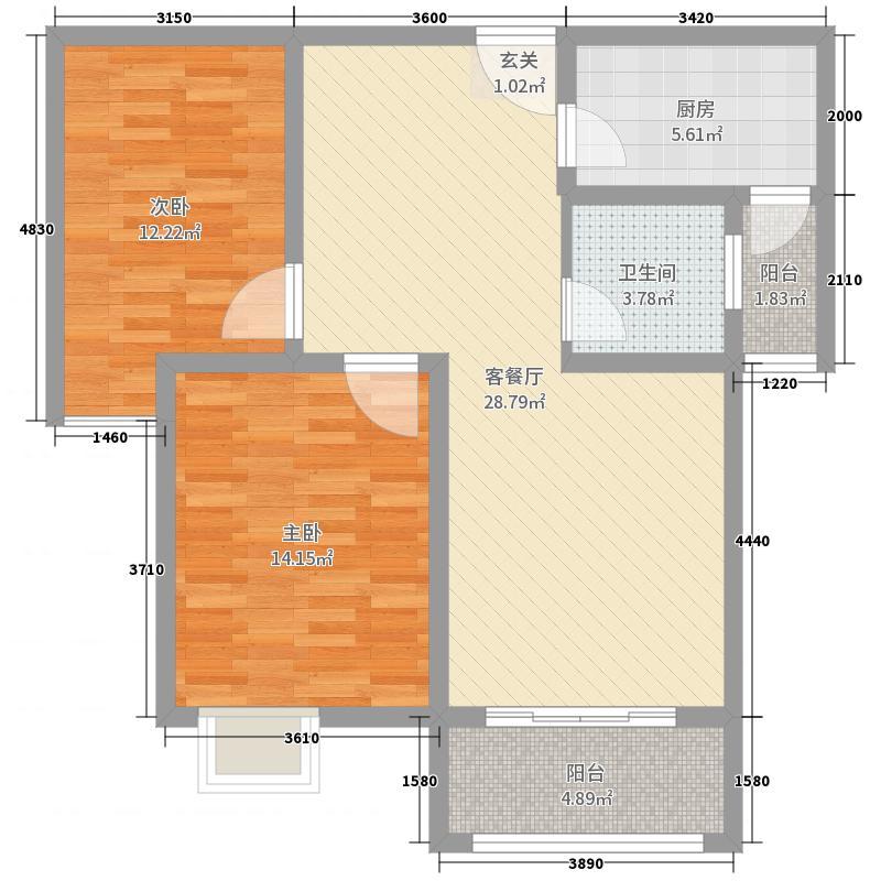 星河湾89.15㎡精致15C户型2室2厅1卫1厨