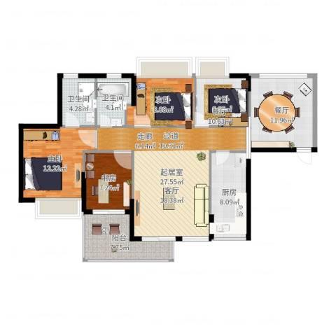 翠堤尚园4室1厅2卫1厨122.00㎡户型图