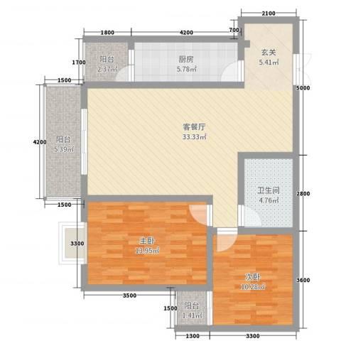 中力广场2室2厅1卫1厨101.00㎡户型图